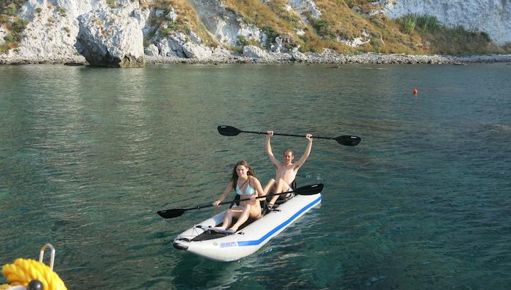 Savvy and Hunter in Kayak